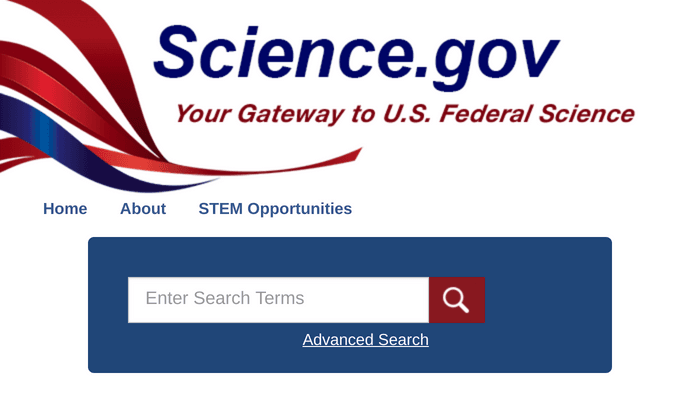 Search interface of Science.gov