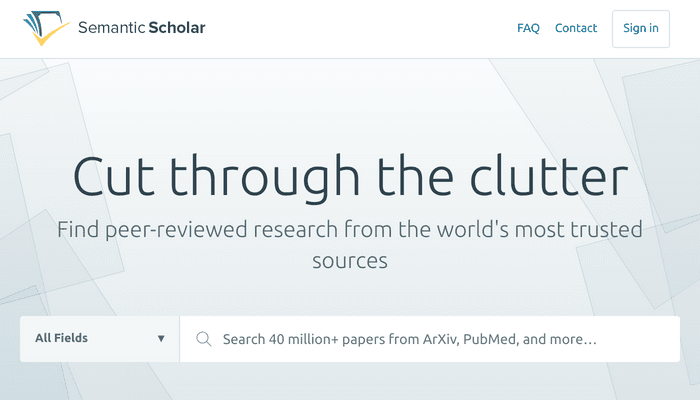 Search interface of Semantic Scholar