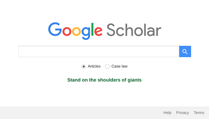 Search interface of Google Scholar