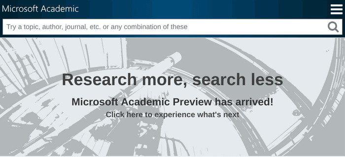 Search interface of Microsoft Academic
