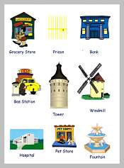 Town Buildings Picture Vocabulary